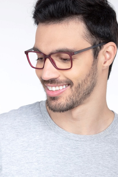 Alaska Red Plastic Eyeglass Frames for Men from EyeBuyDirect, Front View