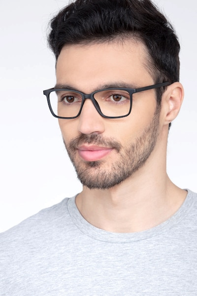 Alaska Black Plastic Eyeglass Frames for Men from EyeBuyDirect, Front View