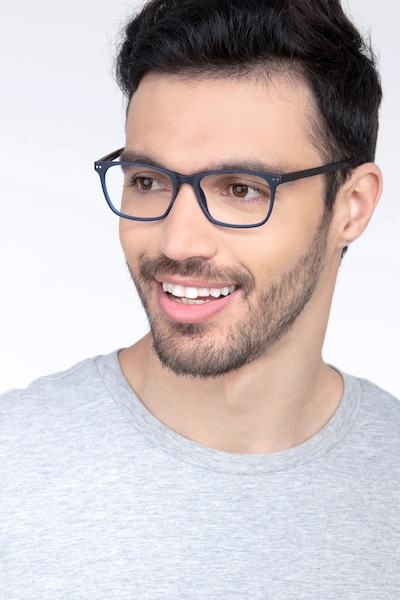 Arctic Blue Plastic Eyeglass Frames for Men from EyeBuyDirect, Front View