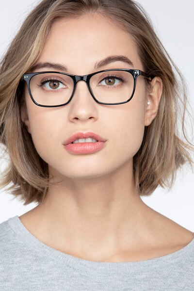 Arctic Black Plastic Eyeglass Frames for Women from EyeBuyDirect, Front View