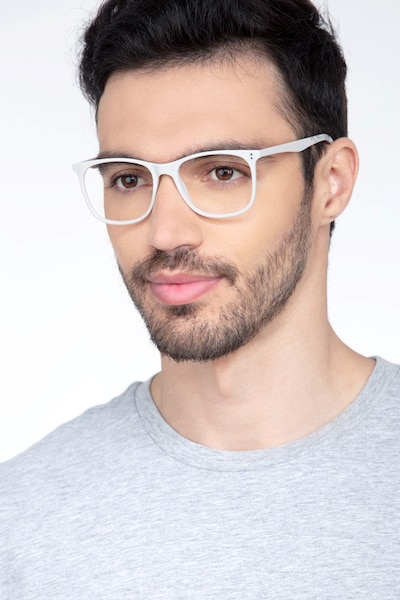 Mystery Gray Plastic Eyeglass Frames for Men from EyeBuyDirect, Front View