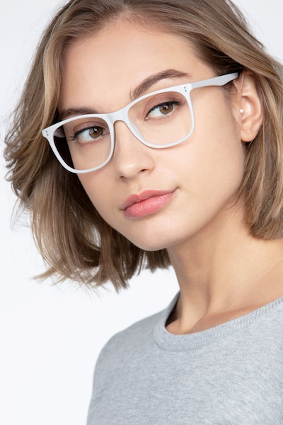 Mystery Gray Plastic Eyeglass Frames for Women from EyeBuyDirect, Front View