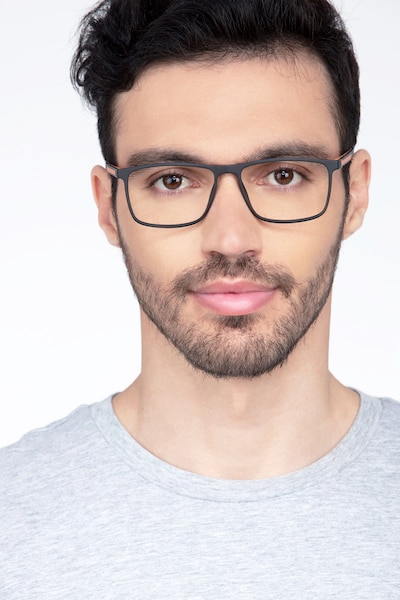Holmes Black Plastic Eyeglass Frames for Men from EyeBuyDirect, Front View