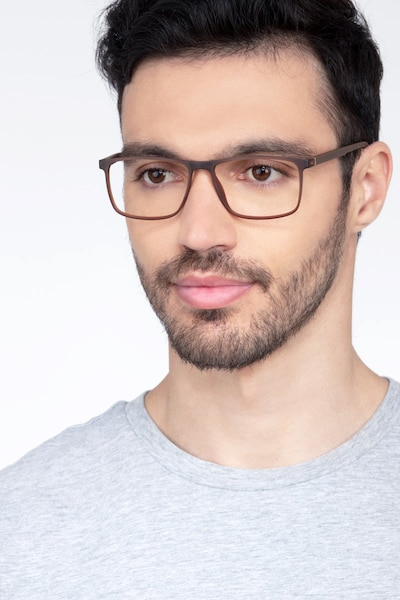 Holmes Brown Plastic Eyeglass Frames for Men from EyeBuyDirect, Front View