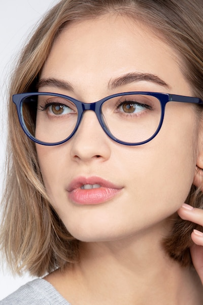 Sphinx Blue Striped Acetate Eyeglass Frames for Women from EyeBuyDirect