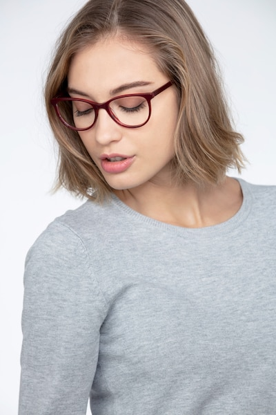 Sphinx Red Striped Acetate Eyeglass Frames for Women from EyeBuyDirect