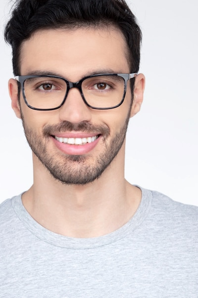 Formula Gray Striped Acetate Eyeglass Frames for Men from EyeBuyDirect, Front View