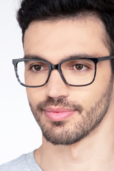 Formula Gray Striped Acetate Eyeglass Frames for Men from EyeBuyDirect
