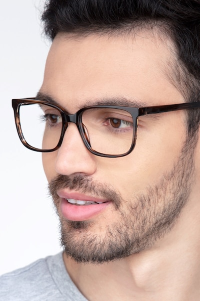 Formula Brown Striped Acetate Eyeglass Frames for Men from EyeBuyDirect