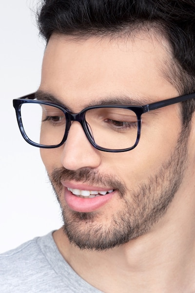 Formula Blue Striped Acetate Eyeglass Frames for Men from EyeBuyDirect