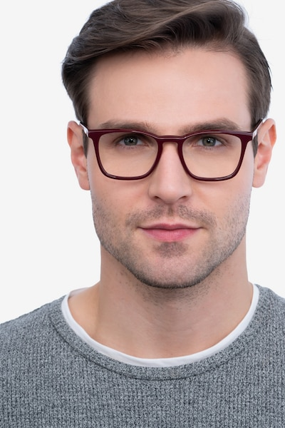 Phoenix Burgundy Acetate Eyeglass Frames for Men from EyeBuyDirect, Front View