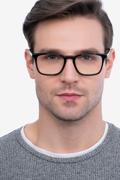 Phoenix Black Acetate Eyeglass Frames for Men from EyeBuyDirect, Front View