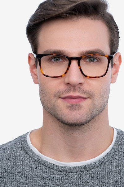 Phoenix Tortoise Acetate Eyeglass Frames for Men from EyeBuyDirect, Front View