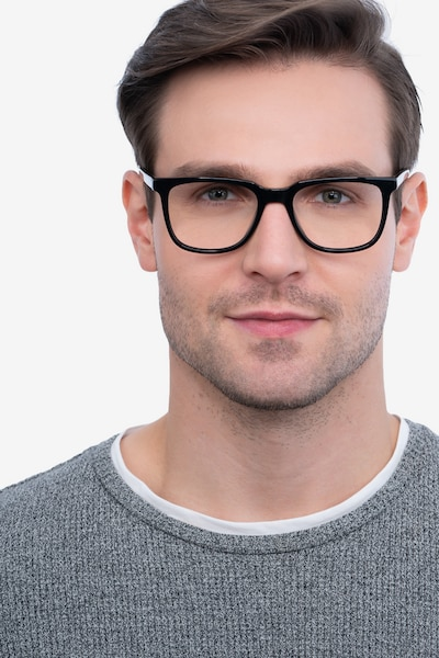 Girona Black Acetate Eyeglass Frames for Men from EyeBuyDirect, Front View
