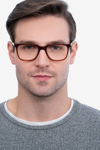 Girona Brown Acetate Eyeglass Frames for Men from EyeBuyDirect, Front View