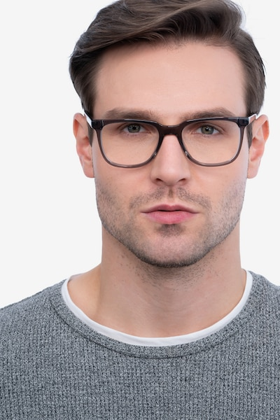 Girona Gray Acetate Eyeglass Frames for Men from EyeBuyDirect, Front View