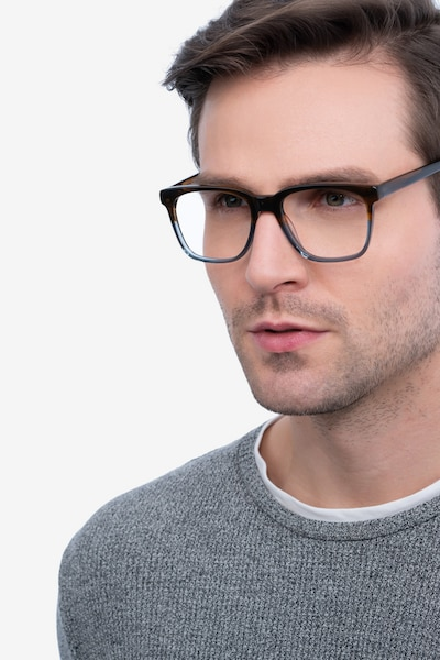 Jamie Brown Striped Acetate Eyeglass Frames for Men from EyeBuyDirect, Front View