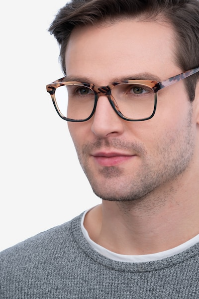 Jamie Tortoise & Green Acetate Eyeglass Frames for Men from EyeBuyDirect, Front View