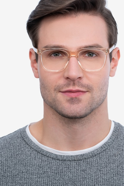 Jamie Clear Brown Acetate Eyeglass Frames for Men from EyeBuyDirect, Front View