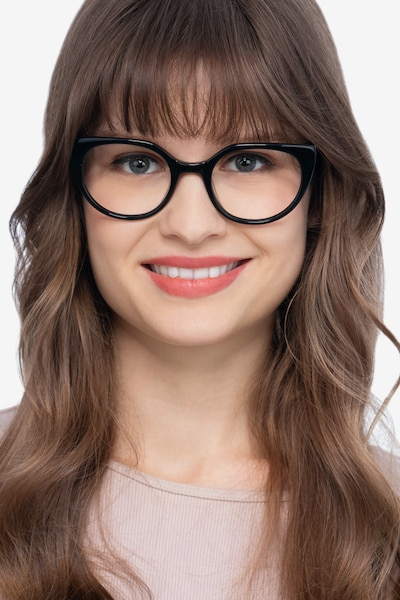 Rhyme Black Acetate Eyeglass Frames for Women from EyeBuyDirect, Front View