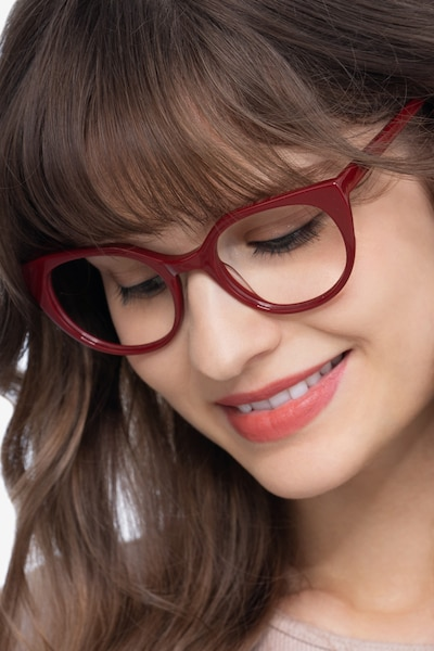 Rhyme Burgundy Acetate Eyeglass Frames for Women from EyeBuyDirect