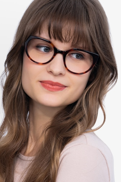 Rhyme Tortoise Acetate Eyeglass Frames for Women from EyeBuyDirect, Front View
