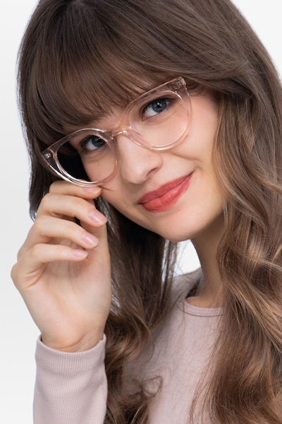 Rhyme Clear brown Acetate Eyeglass Frames for Women from EyeBuyDirect, Front View