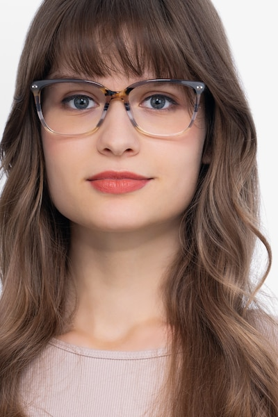 North Gray Striped Acetate Eyeglass Frames for Women from EyeBuyDirect, Front View