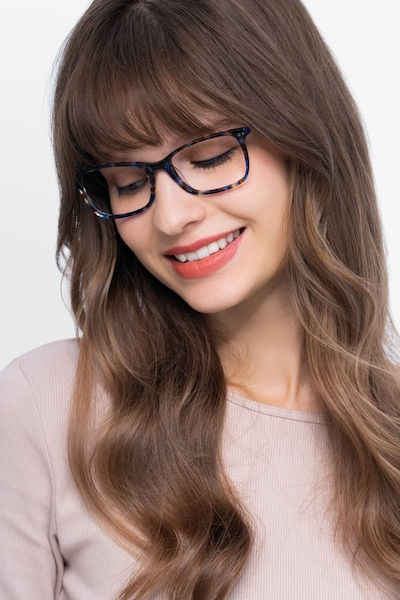 Alette Blue Floral Acetate Eyeglass Frames for Women from EyeBuyDirect, Front View