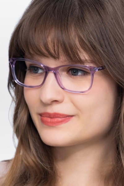 Alette Clear Purple Acetate Eyeglass Frames for Women from EyeBuyDirect