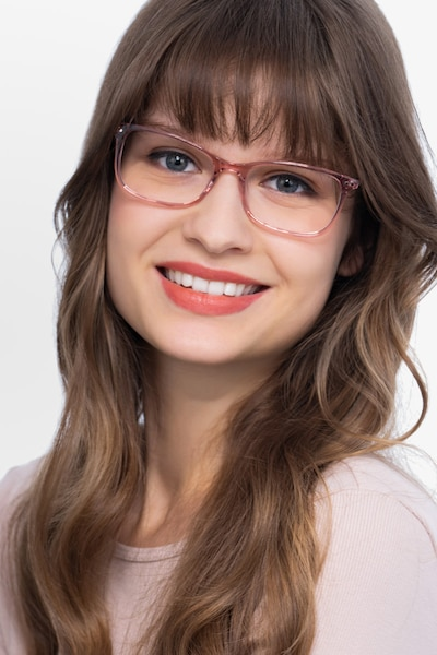 Alette Clear Pink Acetate Eyeglass Frames for Women from EyeBuyDirect, Front View