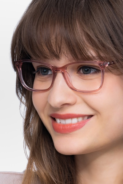 Alette Clear Pink Acetate Eyeglass Frames for Women from EyeBuyDirect