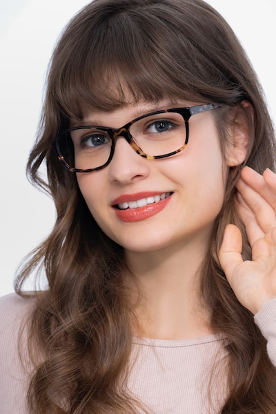 Ayla Tortoise Acetate Eyeglass Frames for Women from EyeBuyDirect, Front View