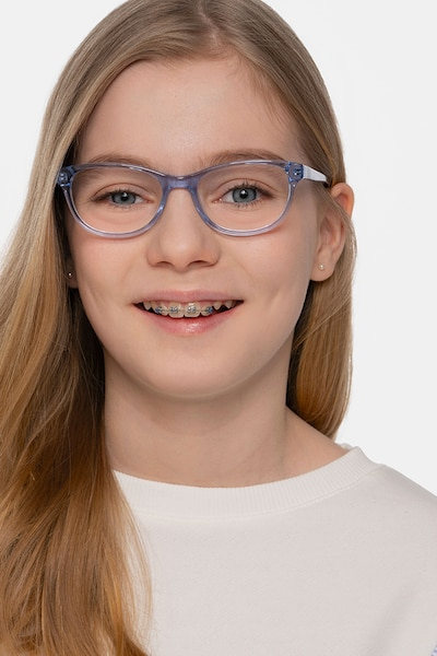 Thinker Clear Blue Acetate Eyeglass Frames for Women from EyeBuyDirect, Front View