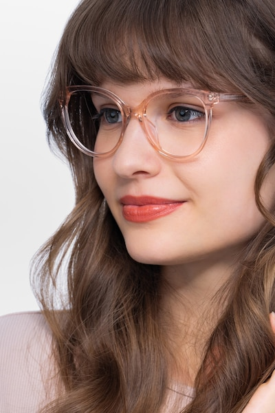 Nala Clear Pink Acetate Eyeglass Frames for Women from EyeBuyDirect