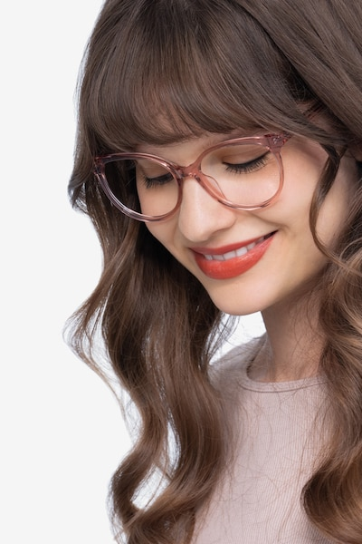 Nala Clear Purple Acetate Eyeglass Frames for Women from EyeBuyDirect, Front View