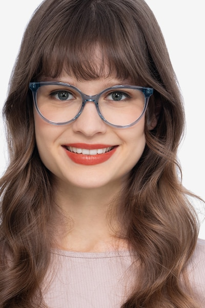 Nala Clear Blue Acetate Eyeglass Frames for Women from EyeBuyDirect, Front View