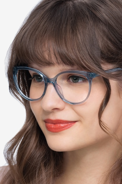 Nala Clear Blue Acetate Eyeglass Frames for Women from EyeBuyDirect