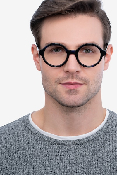 Groove Blue Tortoise Acetate Eyeglass Frames for Men from EyeBuyDirect, Front View