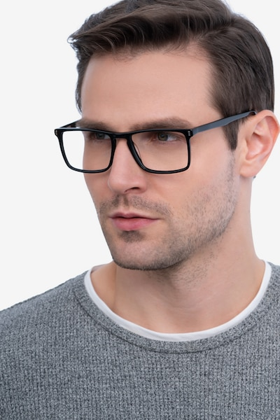 Arise Black Acetate Eyeglass Frames for Men from EyeBuyDirect, Front View