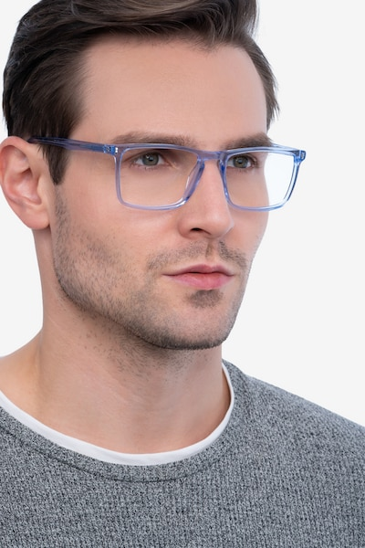 Arise Blue Acetate Eyeglass Frames for Men from EyeBuyDirect, Front View