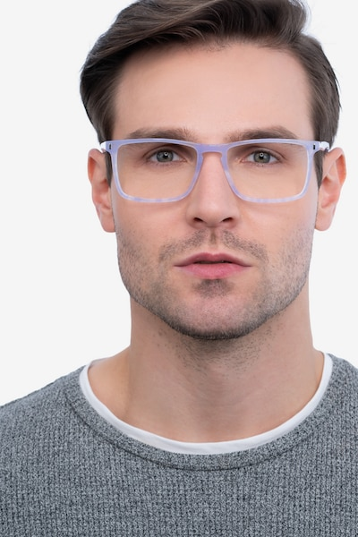 Arise Purple Striped Acetate Eyeglass Frames for Men from EyeBuyDirect, Front View