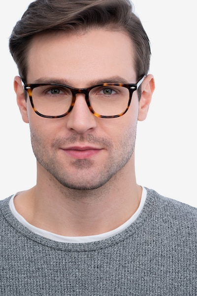 Honor Tortoise Acetate Eyeglass Frames for Men from EyeBuyDirect, Front View