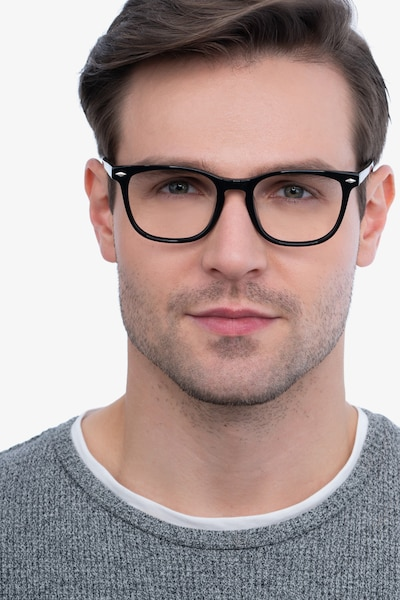 Honor Black Acetate Eyeglass Frames for Men from EyeBuyDirect, Front View