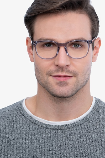 Honor Clear Gray Acetate Eyeglass Frames for Men from EyeBuyDirect, Front View