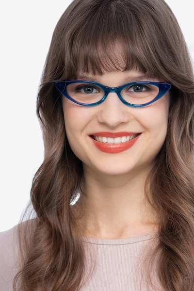 Hush Blue Acetate Eyeglass Frames for Women from EyeBuyDirect, Front View