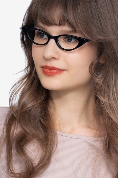Hush Black Acetate Eyeglass Frames for Women from EyeBuyDirect, Front View
