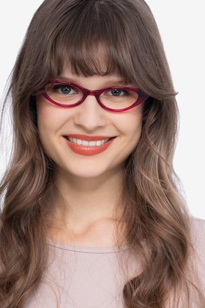 Hush Raspberry Acetate Eyeglass Frames for Women from EyeBuyDirect, Front View