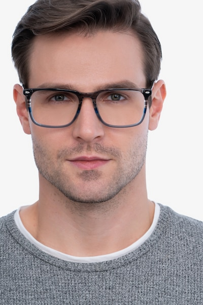 Tactician Gray Striped Acetate Eyeglass Frames for Men from EyeBuyDirect, Front View