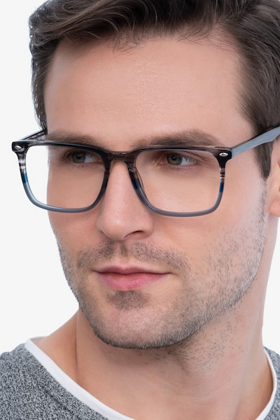 Tactician Gray Striped Acetate Eyeglass Frames for Men from EyeBuyDirect